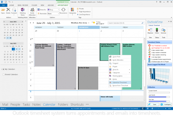 Outlook time tracking and timesheet system